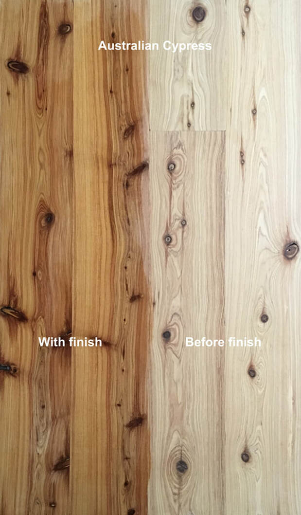 Picture: Australian Cypress flooring with and with finish. Note the golden color and dark knots.©