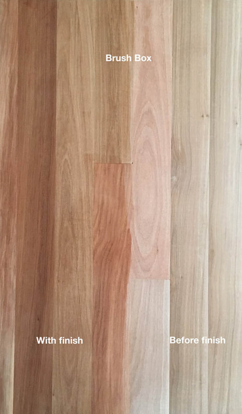 Picture: Australian Brush Box flooring with and without finish. Note the fine grain and warm pinkish brown to beige colors.©