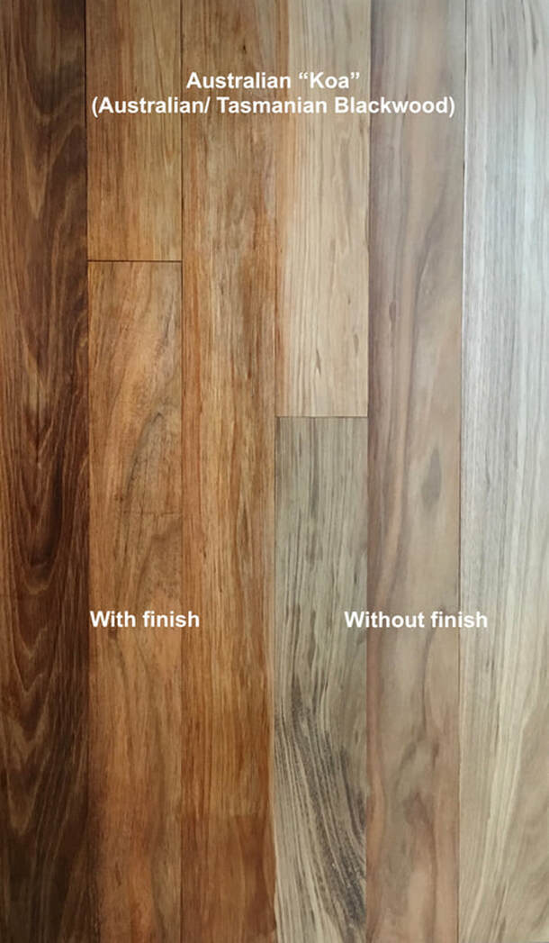 Picture: Australian Koa flooring with and with our finish. Medium to warm browns with curving grain.©