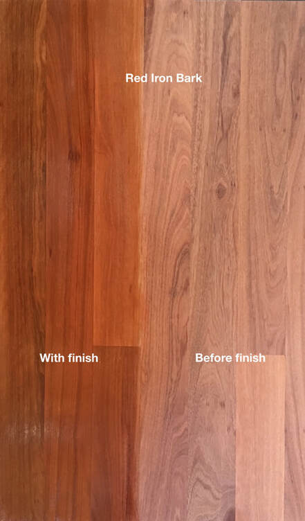 Picture: Red Iron Bark flooring with and without finish. Our hardest Eucalyptus flooring with beautiful reddish browns and smooth grain make this a prized wood. ©