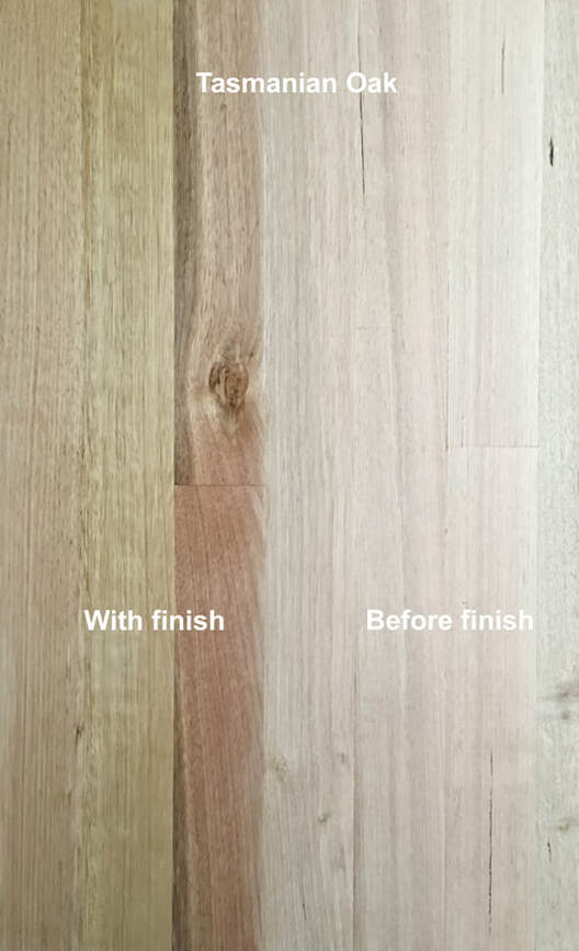 Picture: Tasmanian Oak flooring with and without finish. This blonde Eucalyptus wood also known as Victorian Ash or Mountain ash is prized for the calms. light, Scandinavian appeal of its colors and grain.©