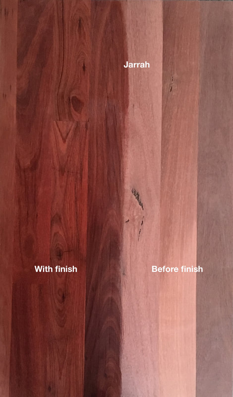 Picture: Australian Jarrah flooring with and without finish. A vanishing Eucalyptus species with beautiful rich reddish colour with fine even grain. Rare and very sought after.©