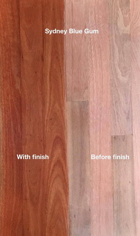 Picture: Sydney Blue Gum flooring with and without finish. A princess among Eucalyptus woods due to its warm pinkish reds and exquisitely beautiful fine grain.©